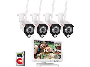 """[Audio Recording] All-in-One Full HD 1080P Security Camera System Wireless with 10.1"""" IPS Monitor,8CH WiFi NVR,1TB HDD and 4PCS 2.0 MP Outdoor Bullet IP Cameras with PIR Sensor,Plug and Play"""
