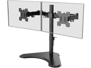 WALI Free Standing Dual LCD Monitor Fully Adjustable Desk Mount Fits Two Screens up to 27 inch, 17.6 lbs. Weight Capacity per Arm (MF002LM), Black