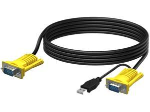 RIJERUSB VGA KVM Cable16 Feet 16ft Connect with KVM Switches USB Keyboard/Mouse Cable and Monitor Cable 5M