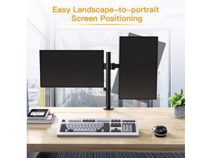 """17-32"""" Dual Monitor Stand Mount, Heavy-Duty Fully Adjustable Desk Clamp Arms for Computer Screens, Loads up to 17.6lbs per arm w/Swivel and Tilt, 75/100mm VESA, Black"""