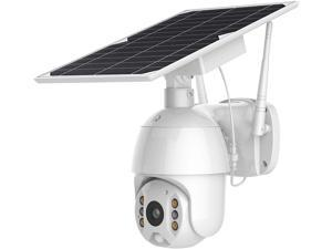Solar Security Camera - Wireless WiFi Pan Tilt Spotlight Solar Battery Powered Motion Detection Home Outdoor IP PTZ Camera with Color Night Vision ( 18650 Batteries 6Pcs Included )