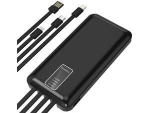 All-in-one Build in 4 Plugs Power Bank 10000mAh Provides Charging to 4 Devices at The Same time Quick Charge Cell Phone Tablet Bluetooth Speaker Headphone etc. (10000mAh Black)