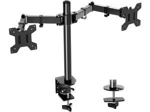 Dual Monitor Desk Mount Stand, Full Motion Computer Monitor Arm Mount for 2 LCD Screens up to 27 Inch, Dual Monitor Stand with C-Clamp and Grommet Base MU0002