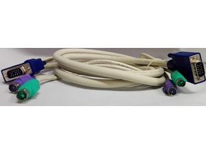 Color-Coded Single KVM Cable PS2 Mouse Keyboard VGA Cable for switchview OSD 10-ft