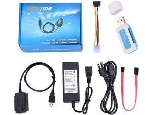 SATA/PATA/IDE Hard Drive to USB 2.0 Adapter Cable Support All Computer System 2.5/3.5 Inch Hard Drive/5 inch Optical Drive HDD Connector Converter Set w/All in one Card Reader