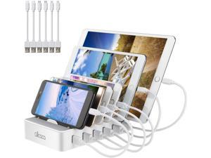 Fast Charging Station for Multiple Devices-Charging Station Family Charge Docking Station & Organizer with 6 USB Ports Mixed Cables-Compatible with iPhone iPad and Android Phone and Tablet
