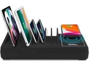 10 Port 90W USB Type-A USB-C Fast Charging Station Organizer with 10W Qi Wireless Charging Dock - Compatible with Apple iPhone, iPad, Smartphone, Tablet and Others