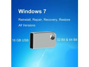 USB for Windows 7 32&64 Bit All Versions Repair Recovery Install Restore Boot Fix Flash Drive, Antivirus Protection&Drivers Software, 16 GB USB for Desktop&Laptop - Silver