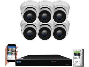 GW Security 8 Channel Smart AI PoE NVR Ultra-HD 4K (3840x2160) Security Camera System with 6 x 4K (8MP) 2160P Face Recognition/Human/Vehicle Detection Waterproof Surveillance IP Dome Camera