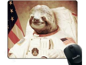 Gaming Mouse Pad Custom,Funny Sloth Dress As a Astronaut Personality Mouse Pad Unique Design Mousepad