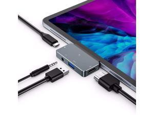 "USB C Hub for iPad Pro 2021/2020/2018, iPad Air 4, RREAKA 4-in-1 USB C to HDMI Adapter with 3.5mm Audio Headphone Jack, USB 3.0, PD Charging Dongle. Compatible with iPad Pro 12.9"" 11"", MacBook"