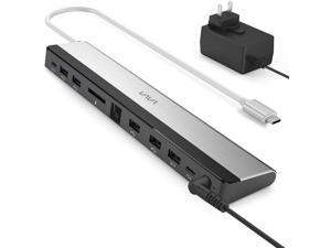 USB C HUB with 36W Adapter, 100W PD, Ethernet Port, SD Card Slot, 2 x USB 3.1, 2 x USB 2.0, 1 x QC 3.0 Ports, 1xPD 3.0 Port, 1x DC in Port for MacBook Pro and Type C Windows Laptop
