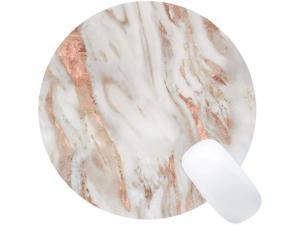 Wknoon Rose Gold and Eggshell Marble Mouse Pad Round Mouse Pads Cute Mat