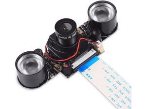 Raspberry Pi 4 Camera Module Automatic IR-Cut Sensor Day/Night Vision Video Webcam HD 5MP 1080P OV5647 Adjustable Focus with IR Sensor LED Light for Raspberry Pi 3 B+ 4B 2 Model B/B+ / A/A+