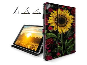iPad 9.7 Case, iPad 6th/5th Generation Case 2018/2017, iPad Air 2 case - [Drop Protection] Leather Cover with [Card Slots] for iPad Air 2nd Gen, iPad 6th/5th Gen - Rose Flower/Sunflower