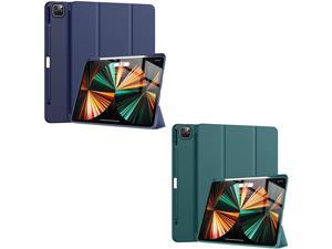 iPad Pro 12.9 inch Case 2021 5th Generation with Pencil Holder,Slim Lightweight Trifold Stand Case?Pencil Charging+Auto Sleep/Wake? Soft TPU Back Cover for iPad Pro 12.9 2021 -Blue+Dark Teal