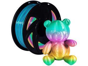 PLA 3D Printer Filament 1.75mm Rainbow 3D Print Material Printing Filaments Color Changing Pla Spool Multicolor Filaments 1KG(2.2lbs) for FDM Printer