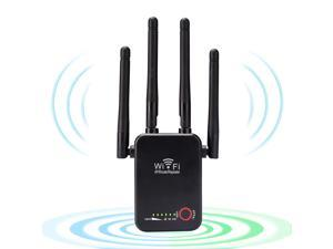 2021WiFi Range Extender,1200Mbps Wireless Signal WiFi Repeater, WiFi Booster&Wall-Through Strong WiFi Signal Amplifier,Dual Band2.4G&5G Expander, 4 Antennas 360°up to2500 Sq.ft Coverage (Black)