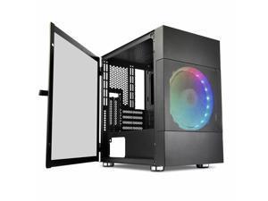 M01 Mid-Tower Computer Gaming PC Case Micro-ATX + 200mm Rainbow Fan Kits