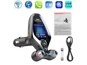 1.4 inch Wireless Bluetooth 5.0 FM Transmitter QC3.0 Dual USB Charger HandsFree