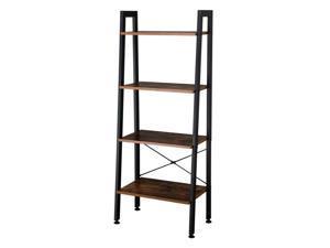 Ladder Shelf Bookshelf 4-Tier Utility Organizer Shelves Metal Frame Rustic Brown