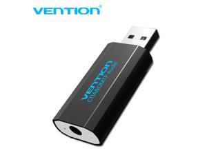 Vention USB External Sound Card with 3.5mm Stereo Earphone Mic Adapter Driver-free for PC Laptop PS4 Black