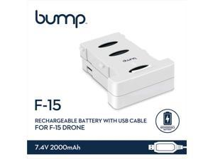 Bump F-15 GPS Drone Replacement Rechargeable Battery 7.4V Output and 2000mAH Capacity with USB Cable for RC Quadcopter
