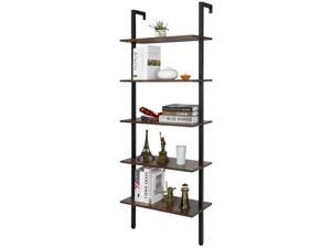 5-Tier Wood Wall-Mounted Bookcase  Industrial Ladder Shelf for Home Office