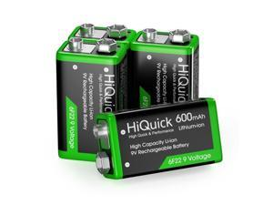 9V 6F22 Lithium Li-Ion Rechargeable Batteries 9 Volt /  LCD Battery Charger Lot