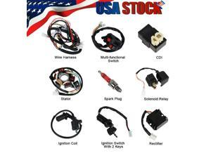 Electric Wiring Harness Wire Loom CDI Stator Kit for ATV QUAD 150CC Go Kart GY6