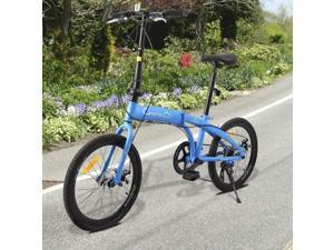 Leisure 20in 7 Speed ??City Foldable Compact Bike Bicycle Urban Commuters Blue