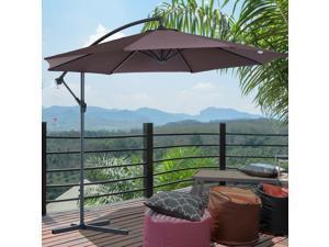F10' Offset Sunshade Market Parasol Banana Hanging Deluxe Coffee