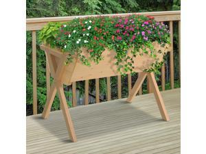 Cross Raised Garden Flower Bed Outdoor Plant Stand w/ Inner Bag Wooden