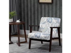 Flower Pattern Linen Dining Chair with Pine Wood Legs for Dining Room Office