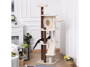 Cat Tree Tower w/ Scratching Posts Pad Sisal Condo Hanging Ball Hammock Perch