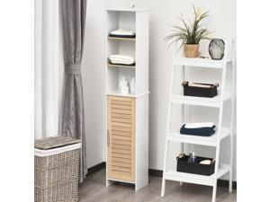 Organizer Bathroom Tall Storage Cabinet w/ Door Tower Open Shelves Freestanding