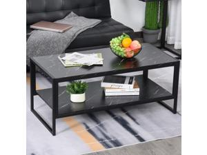 Laminate Marble Print Coffee Table End Side Table with Storage Shelf Home Office