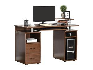 Computer Office Desk Table Workston w/  Keyboard Tray, Drawer, Brown