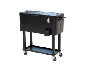 80 Quart Rolling Cooler Cart Po Ice Beer Beverage Cooling Bin