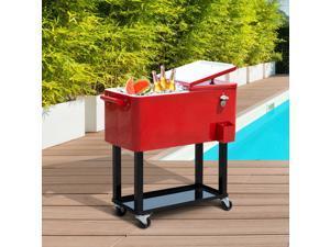 Po Cooler Ice Beer Beverage Cooling Bin 80 Quart Portable Rolling Steel Red