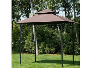 8'x5' BBQ Gazebo Tent Pavilion Grill Canopy Shade Coffee