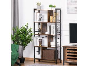 4 Shelf Industrial-Style Storage Unit Bookcase w/ Dividers Metal Frame Foot Pads