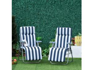 Set of 2 Foldable Po Sun Lounger Adjustable Garden Recliner Cushioned Seat