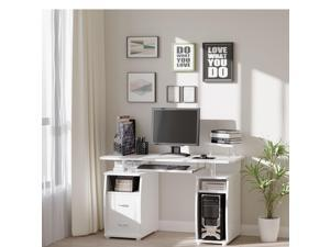 Computer Office Desk PC Table Workston with  Keyboard Tray, Drawers, White