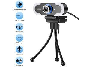 Webcam Full HD 1080P Webcam With fill light  Computer Camera for PC with Cover , Expandable Tripod, USB Web Camera with Cover for Video Calls, Streaming, Skype, Zoom, Teleconference