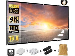 Projector Screen 84 Inch,Portable Movie Screen for Outdoor Indoor,4K 16:9 HD Foldable Wrinkle-Free Projection Screen(1.1 GAIN,160°Viewing),Support Front Rear Projection,with A Cork Bag