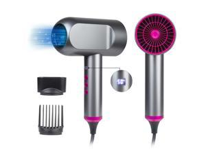 Yismart 1800W Hair Dryer Grey, Negative ion Hammer Dryer with Liquid Crystal Display 5 Gears Adjustment US Plug