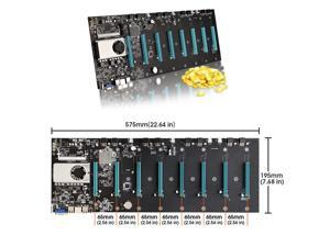 BTC-S37 Mining Motherboard CPU Set 8 Video Card Slot Support DDR3 Memory Integrated VGA Low Power Consumption (65mm Interval)