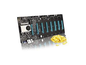 BTC-S37 Mining Motherboard CPU Set 8 Video Card Slot DDR3 Support 1066/1333/1600MHz (65mm Interval)