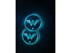 2pcs LED Car Cup Holder Lights, 7 Colors Changing USB Charging Mat Luminescent Cup Pad, Auto Interior Lights Lamp Decoration (Wonder Women)